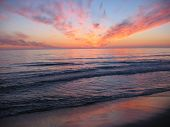 stock photo of sunset beach  - A sunset at Orre beach in Norway - JPG