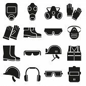 Job safety equipment vector icons set poster