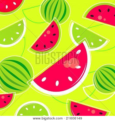 Fresh Summer Melon Retro Background / Pattern - Pink And Green.