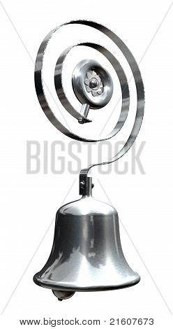 A chrome or silver retro servants bell