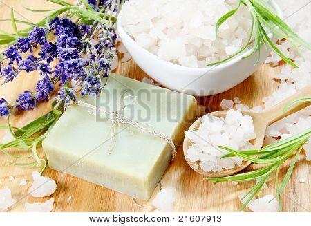 Herbal Soap, Sea Salt and Lavender Flowers
