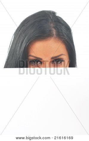 Girl Looking Over White Space
