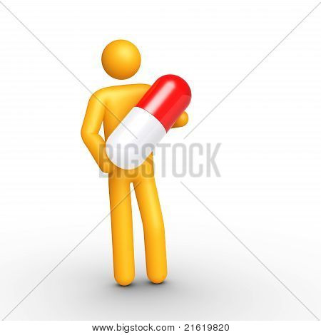 Stick Figure Holding Pill