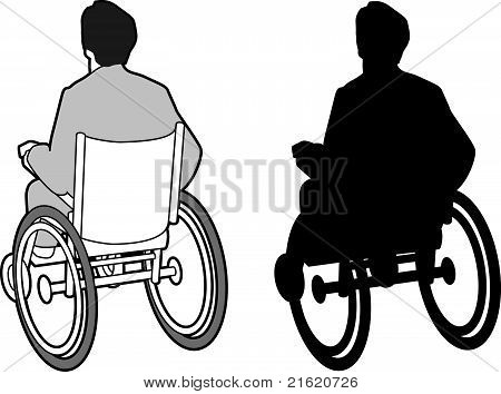 Man in wheel chair and silhouette