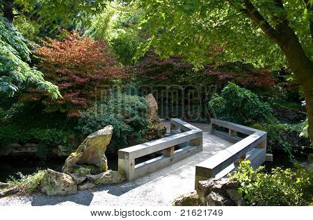 Small wooden brige in the chinese garden