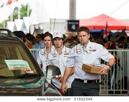 Sepang, Malaysia - April 10: Sergio Perez (team Sauber) At The Autograph Session On Formula 1 Gp, Ap