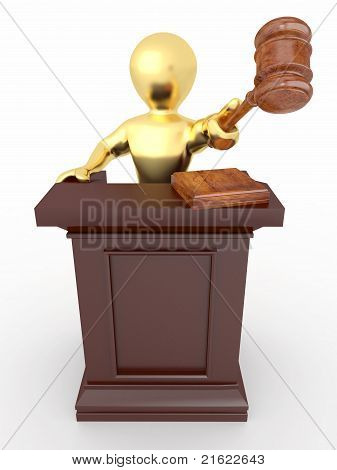 Men With Gavel On White Isolated Background