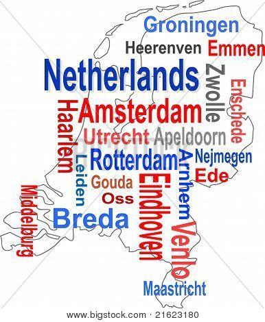 Holland Karte und Wörter Wolke mit größeren Städten