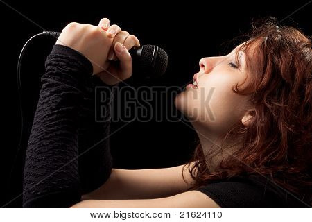 Woman Singing Tenderly