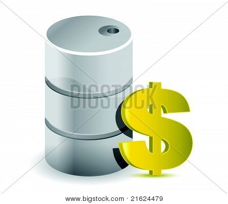 Oil barrel with golden dollar symbol on a white background