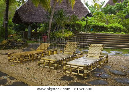 Beach Chairs In A Tropical Resort