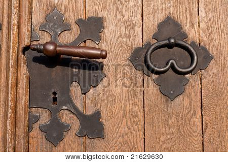 Iron door hardware