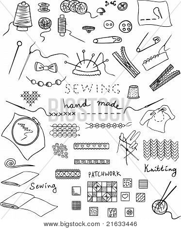 hand made and needlework vector set