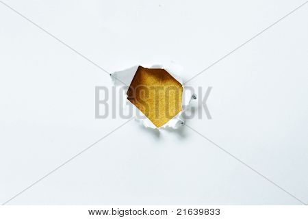 Torn Paper In The Shape Of The Circle With Yellow Background