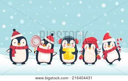 Penguins cartoon vector
