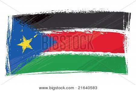Grunge South Sudan flag