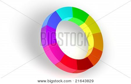 Color circle over white background