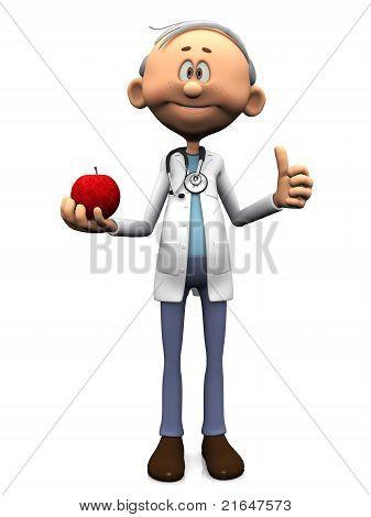 Older Cartoon Doctor Holding An Apple.
