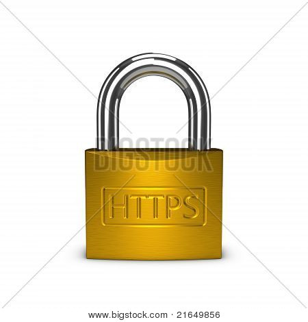Https Padlock Isolated On The White Background
