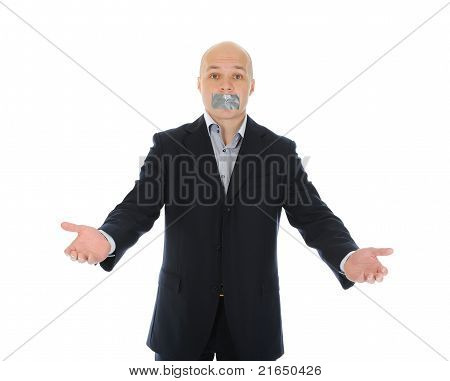 Businessman with mouth sealed