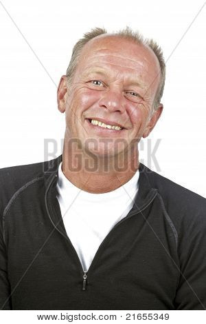 Happy man laughing on a white background