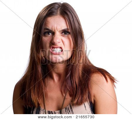 Angry Woman Snarls At The Camera