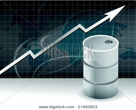 The image of the schedule of a rise in prices for oil