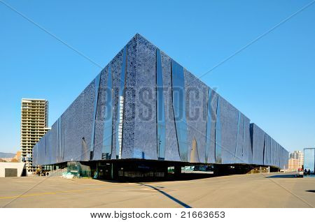 BARCELONA, SPAIN - JANUARY 22: Forum Building on January 22, 2011 in Barcelona, Spain. With an auditorium with a seating capacity of 3,200, was built for the 2004 Universal Forum of Cultures.