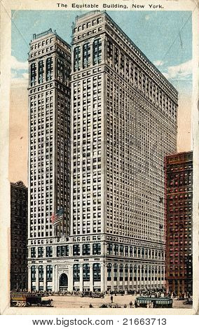 NEW YORK CITY – CIRCA 1915: Vintage postcard depicting the Equitable Building in Manhattan, a neoclassical building designed by Ernest R. Graham in 1915, New York City, USA, circa 1915.   .