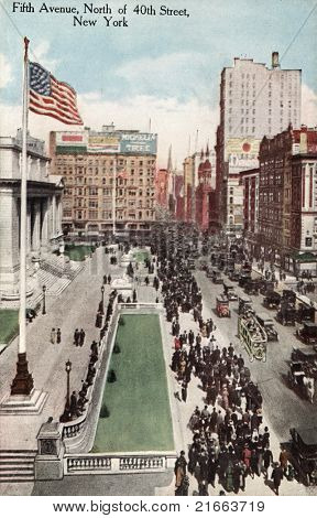 NEW YORK CITY â?? CIRCA 1908: Vintage postcard depicting the elite shopping district of Fifth Avenue, North of 40th Street, New York City, USA, circa 1908.  .