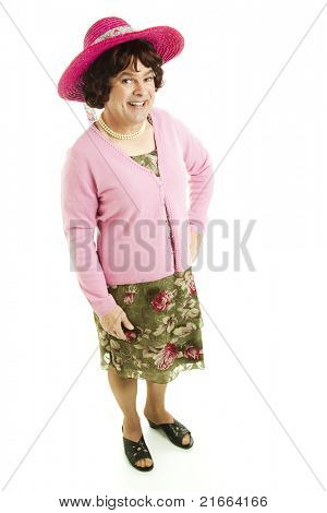Humorous photo of a man dressed as a woman.  Full body isolated on white.