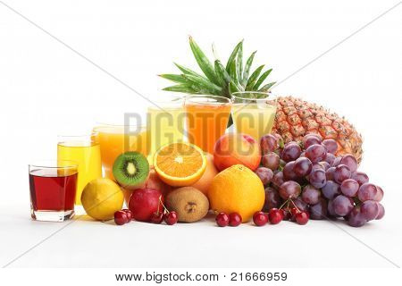 Glasses of fruit juice with fruits on a white background