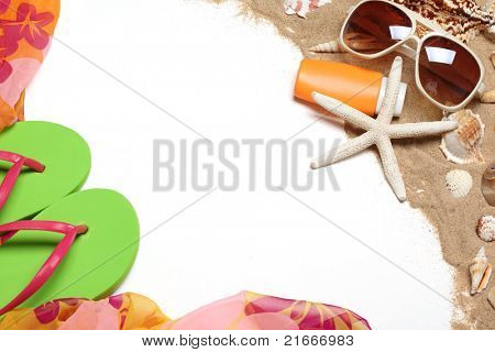 Flip flops,shawl, sunglasses,sunblock,seashells with sands,Copy space for your text.