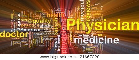 Background concept wordcloud illustration of physician glowing light