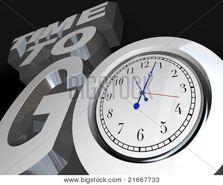 The words Time to Go with a clock in the letter O, representing an encouragement to begin or start a project, competition or event