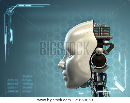 An android has part of his head mask removed, revealing its inner technology. Digital illustration.