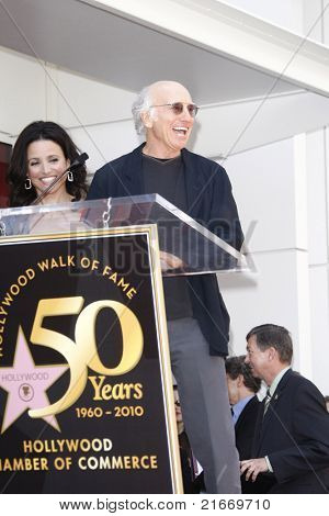 LOS ANGELES - MAY 4: Julia Louis-Dreyfus and Larry David at a ceremony where Julia Louis-Dreyfus is honored with the 2407th star on the Hollywood Walk of Fame in Los Angeles, California on May 4, 2010