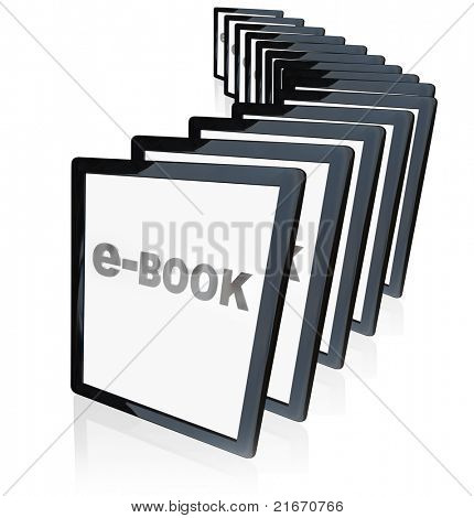 A line-up of tablet computers representing the growing popularity of e-readers, e-books and other new technological advances