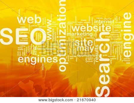 Word cloud concept illustration of SEO Search Engine Optimization international