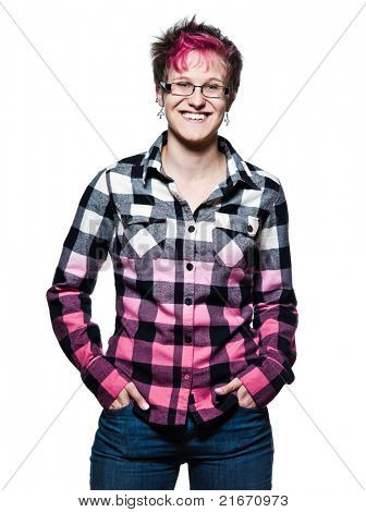 Portrait of a cool young woman smiling in studio on white isolated background