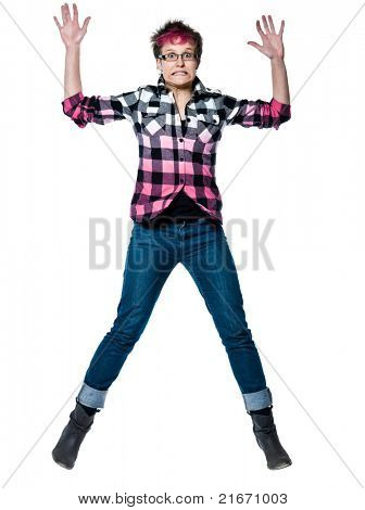 Full length portrait of an extreme nervous woman jumping in studio on white isolated background