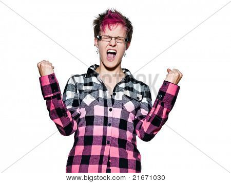 Portrait of an excited young woman shouting in studio on white isolated background