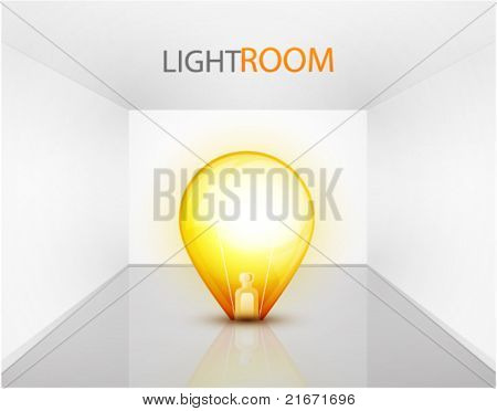 Empty light room with light bulb. Vector eps10 background