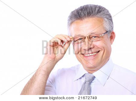 Business man portrait wearing eyeglasses isolated on white