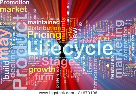 Background concept wordcloud illustration of business product lifecycle glowing light