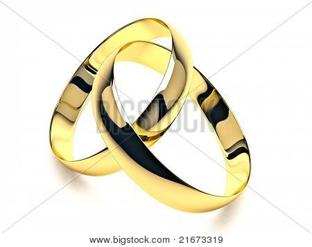 Wedding rings closeup on white background with shadow