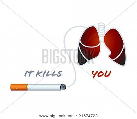 Cigarette and smoker lungs anti-nicotine concept
