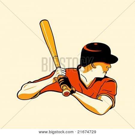 Baseball batter in retro three color print halftone pattern