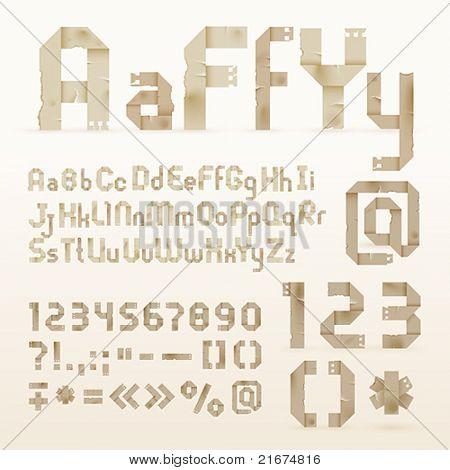 Vintage old paper origami alphabet. Vector font.