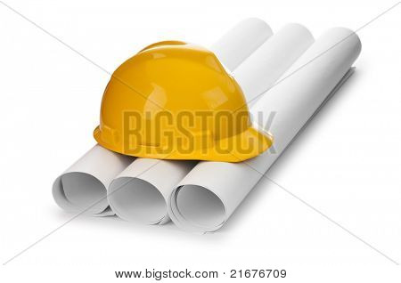 Drawings and hard hat isolated on white